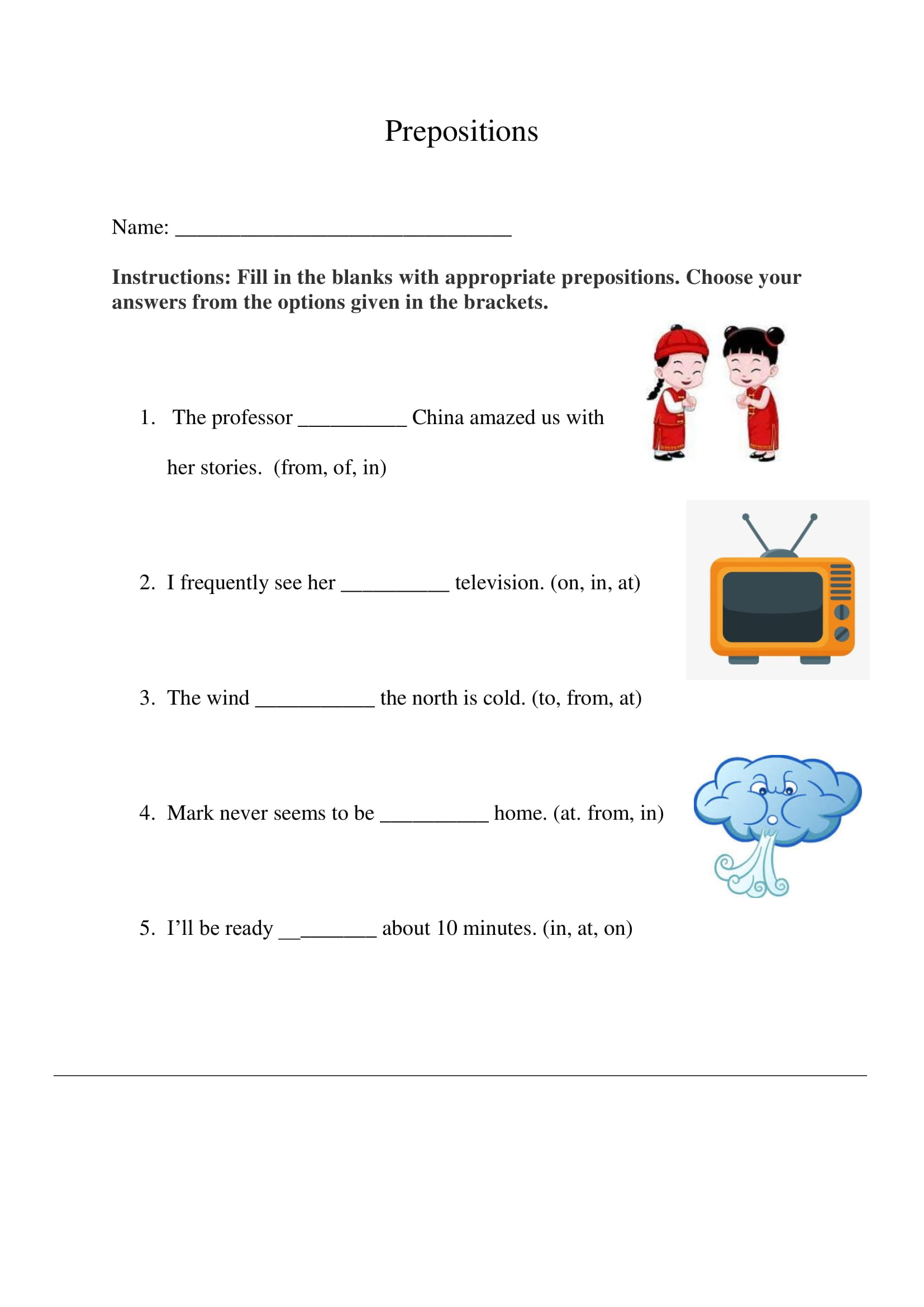 Prepositions Exercise 6