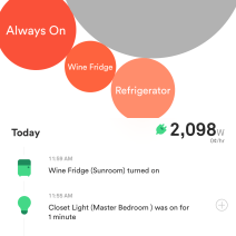 "Sense provides an overview of your home's power usage, and over time that ""unknown"" bubble gets smaller as it figures out what each device is."