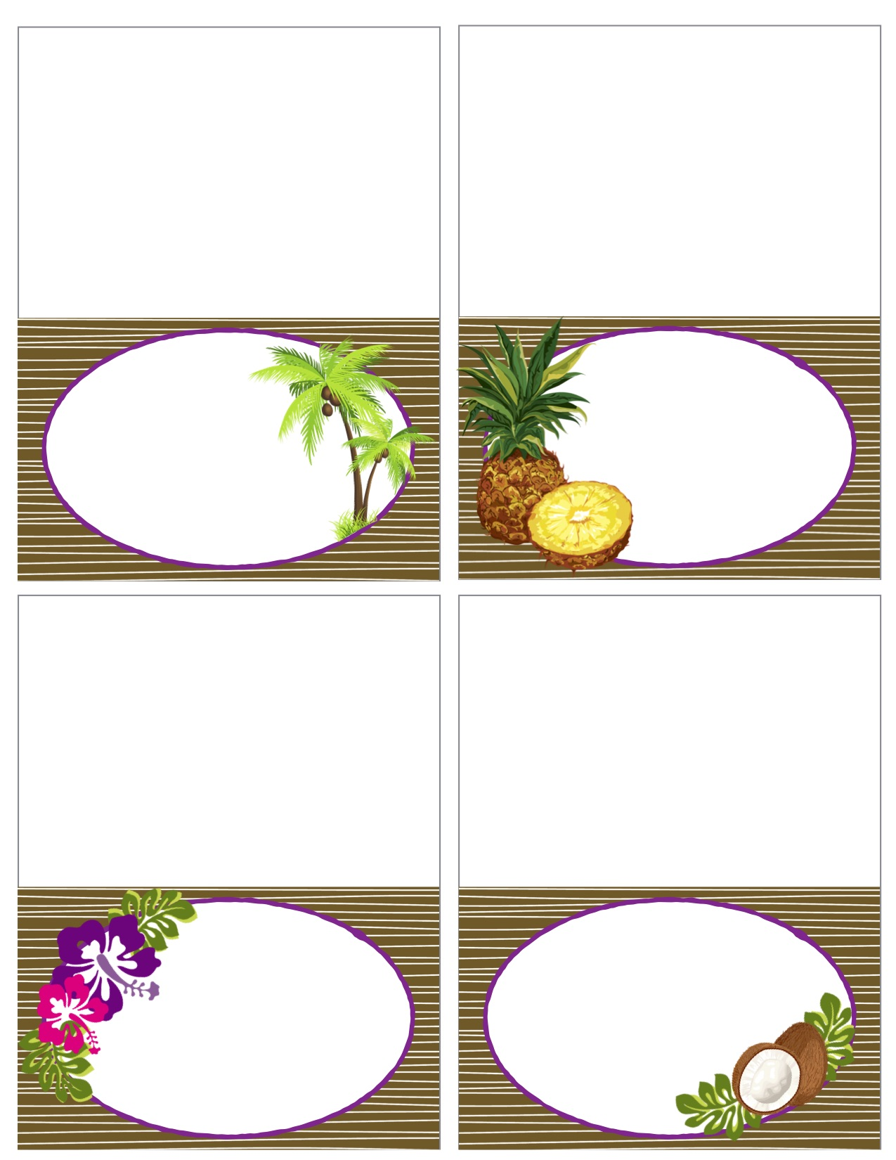 Printable Vintage Luau Food Labels