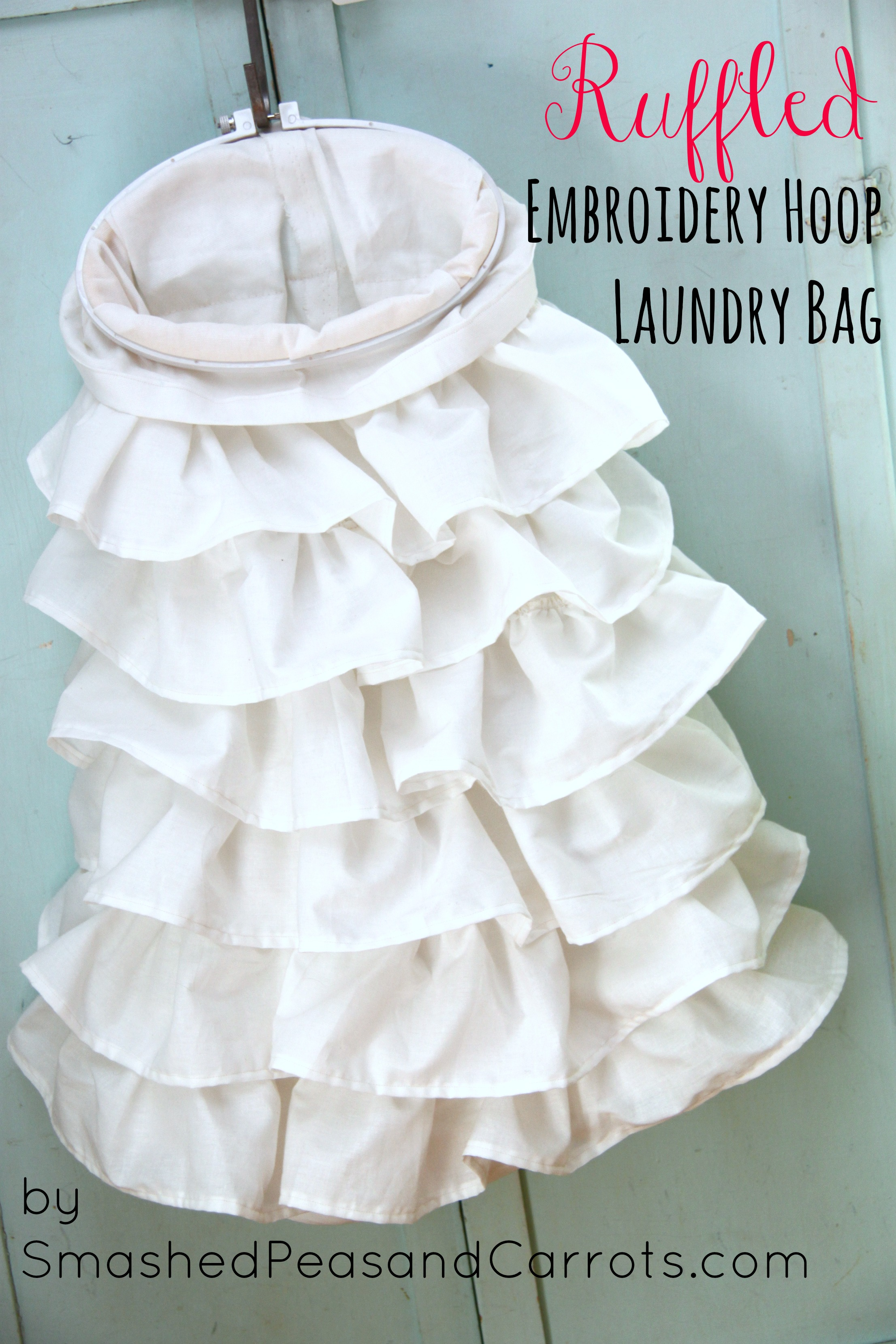 Home Sewn Ruffled Embroidery Hoop Laundry Bag Smashed