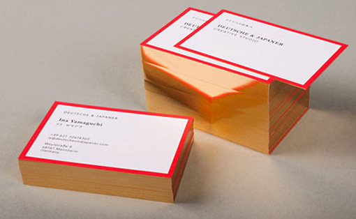 Business cards inspiration 42 red and gold foil edge painted business cards reheart Images