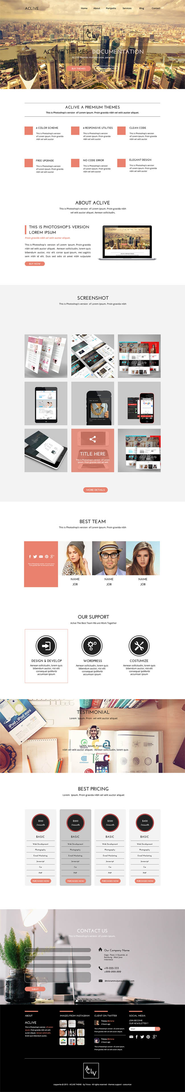 Aclive : Free PSD and HTML Landing Page Template