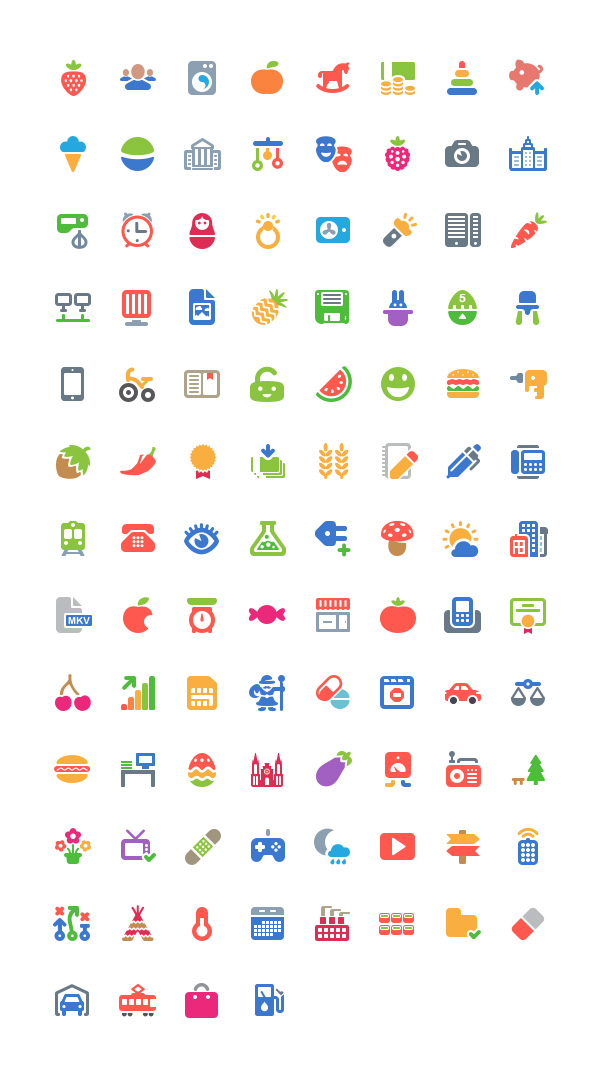 free colorful flat vector icons