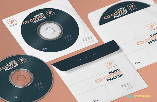 Free CD Cover Mockup PSD Template 03