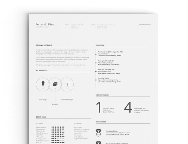 Free Minimal Resume Template 26