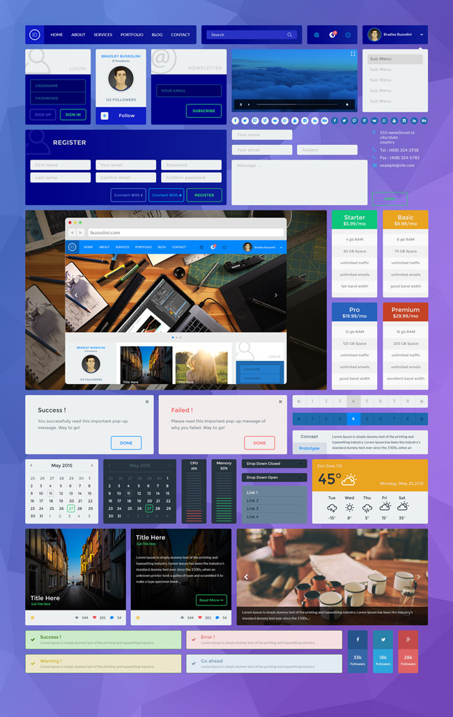 Blue-UI-Kit-PSD-Download