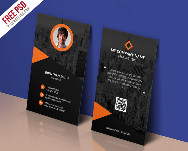 Free Vertical Business Card Template 19
