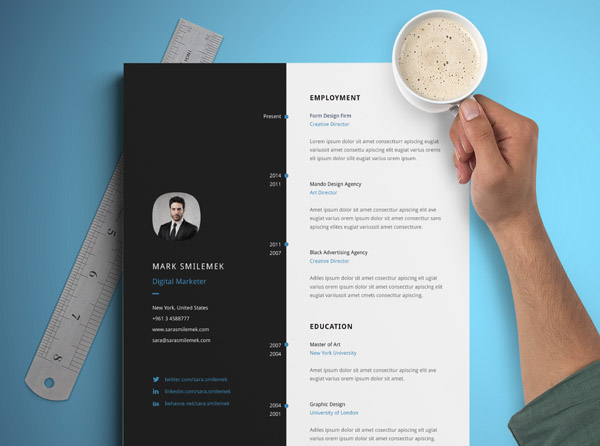 Free Vertical Resume Template 01