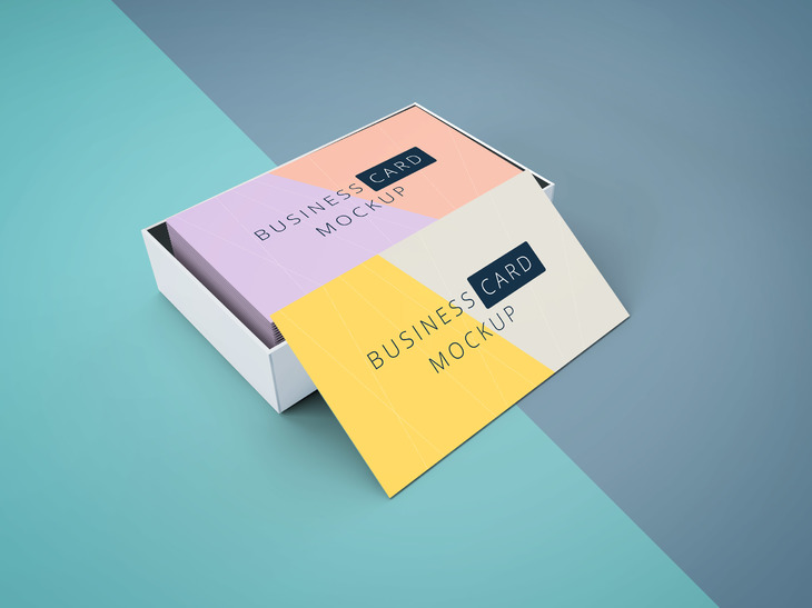Free Business Cards Mockup with The Box