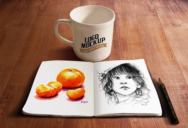 Free Sketch Book Mockup 01