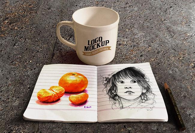 Free Sketch Book Mockup 02