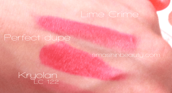 Lime Crime Makeup Lipstick Dupe Kryolan LC 122