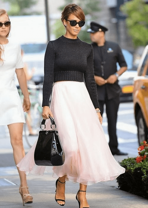 Jessica-Alba-New-York-Ralph-Lauren-Black-Cropp-and-Sweater-Pink-Skirt-and-black-ankle-strap-sandals New York Fashion Week 2013