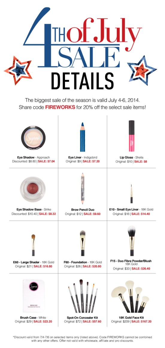 sigma beauty 4th of july sale 2014