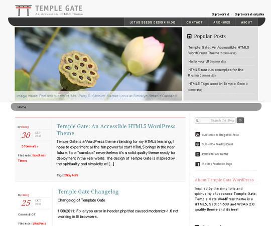 Temple Gate bir Erişilebilir HTML5 WordPress Tema