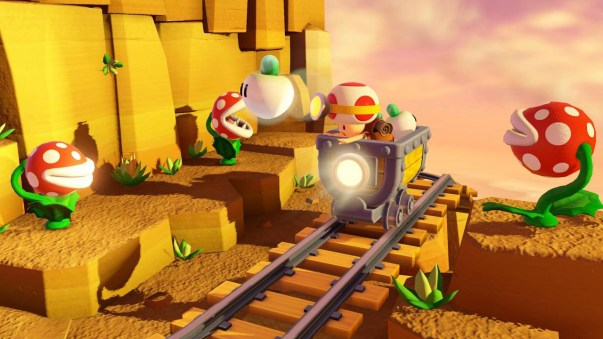 Yes, Captain Toad comes equipped with his own minecart.