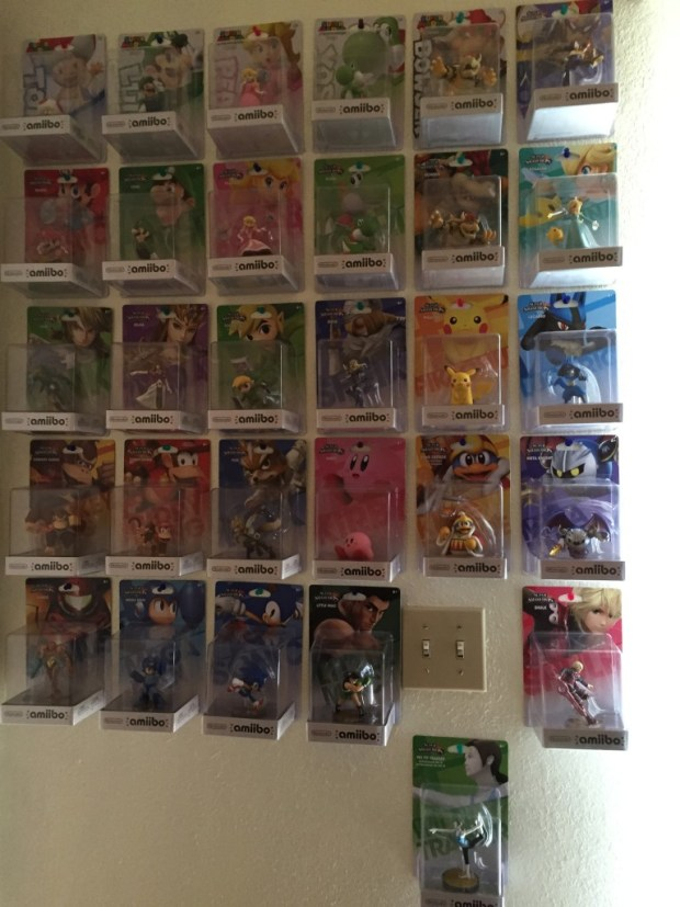 I have 47 amiibo in my household.  Only nine of those 45 are open and put to gaming use.  Everything else is either on my wall, or boxed up somewhere waiting to be traded for other more favorable characters.  The only amiibo I don't have are Marth, Villager, Pit, Ike, and Gold Mario.