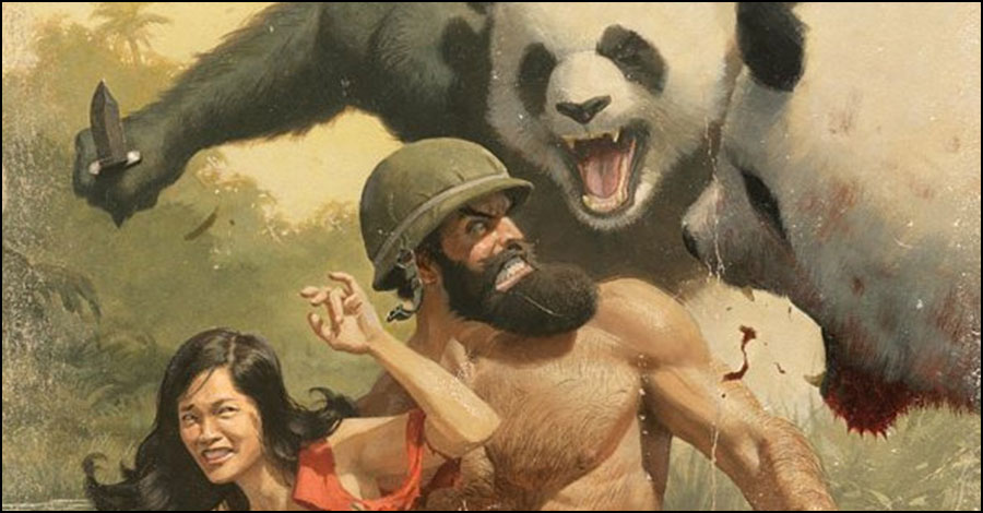 Pandas go wild in Rivera's variant cover for 'Shirtless Bear Fighter'