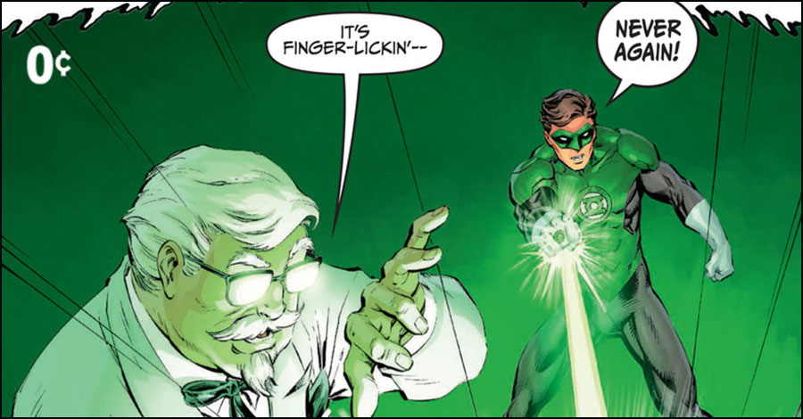 Colonel Sanders, Green Lantern take on 'thieving varmit' in third DC/KFC comic