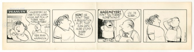 """An unpublished """"Hagemeyer strip"""" by Charles Schulz"""