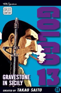 Cover of Golgo 13, vol. 8, showing a man holding a gun and smoking a cigarette.