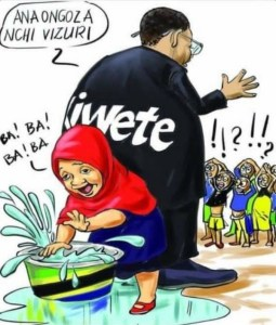 Cartoon by Tanzanian political cartoonist Optatus Fwema, showing President Samila Suluhu as a child playing in a basin of water while her mentor and predecessor, Jakaya Kikwete, tries to reassure a crowd of confused citizens.