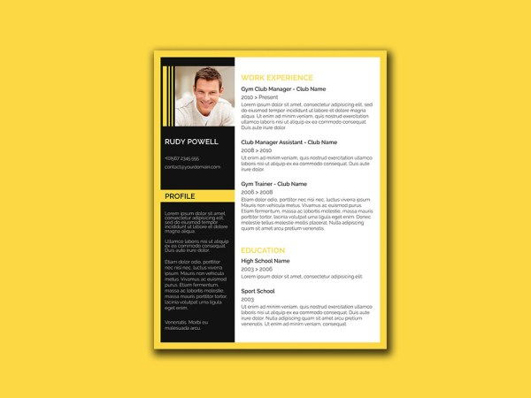 Free Stylish Resume Template with Black and Yellow Color Combination