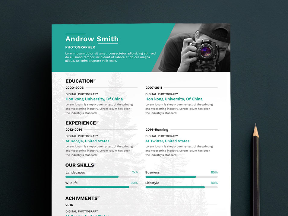 free photographer resume template with portfolio and cover