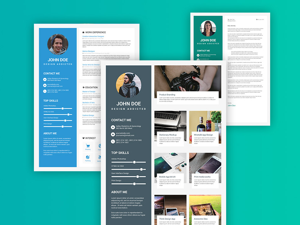 Free Material Design Resume Template with Elegant Style