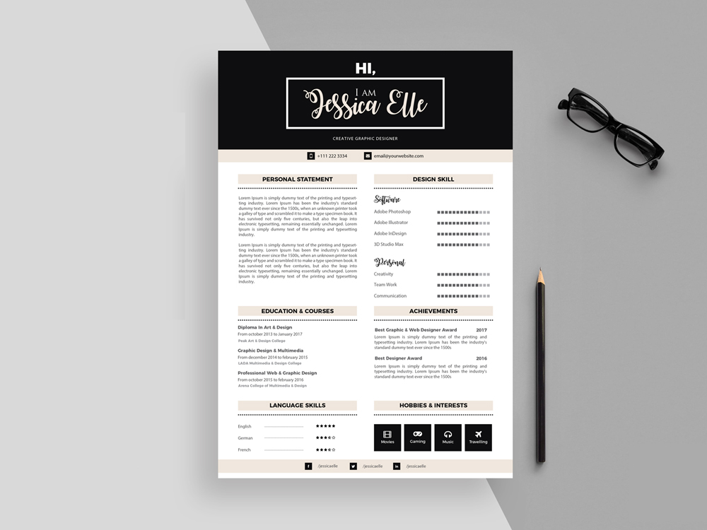 Free Neat Resume Template In Illustrator File Format