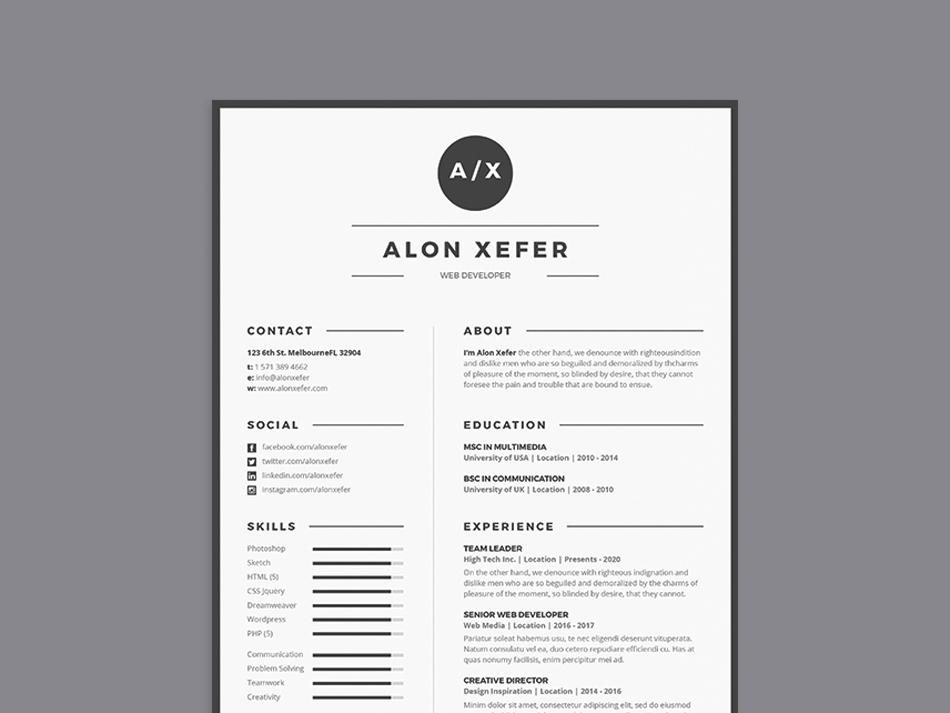 Free Modern Elegant Resume Template In Multiple Format Psd