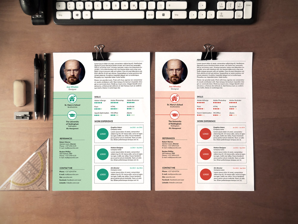 free resume template set in multiple file format  psd  ai