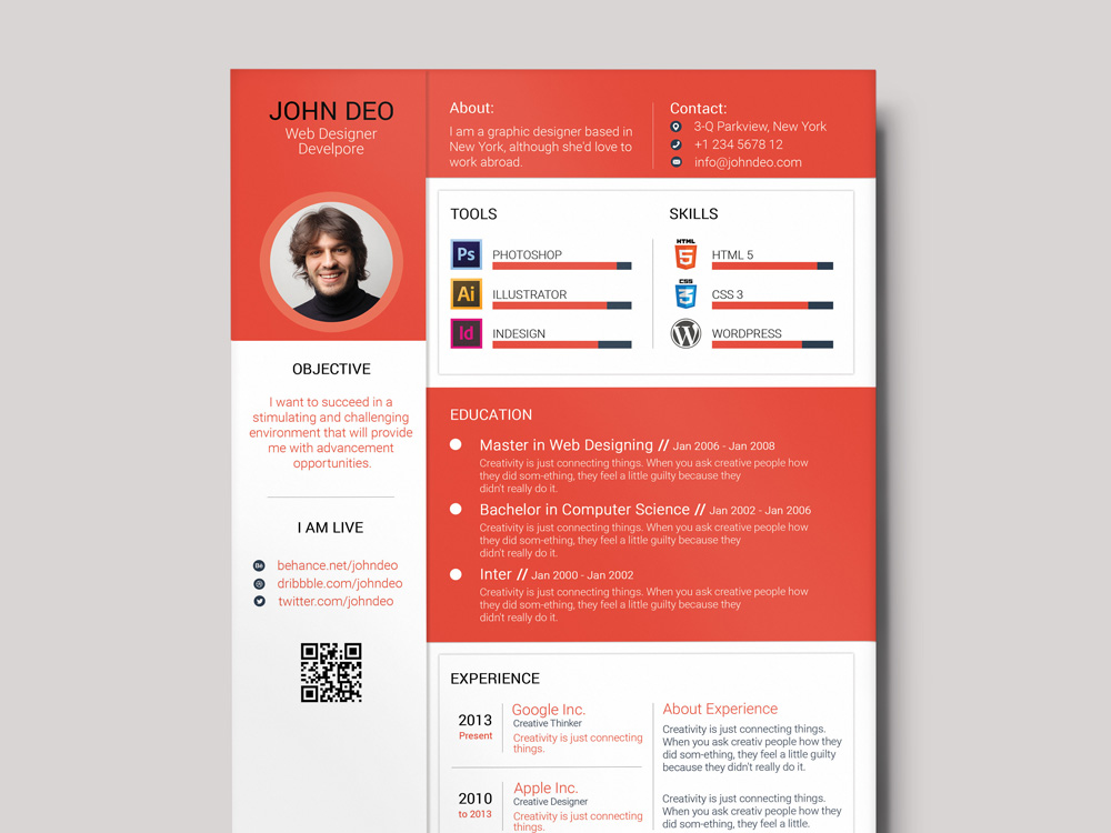 Free Colorful Material Resume Template With Cover Letter