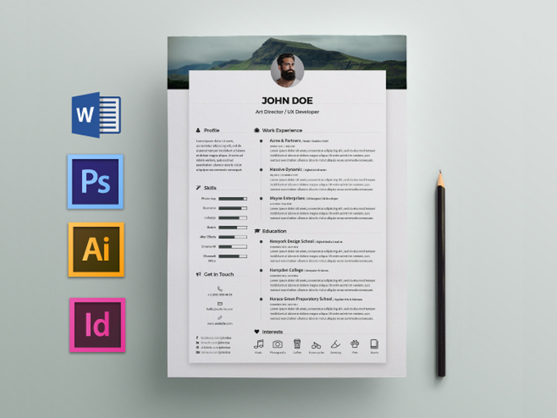 free elegant resume    cv template for any job opportunity