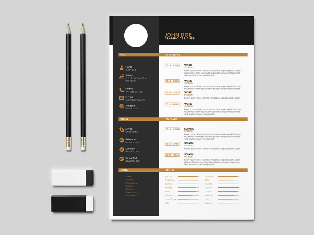 Free Flat Indesign Resume Template With Elegant Design