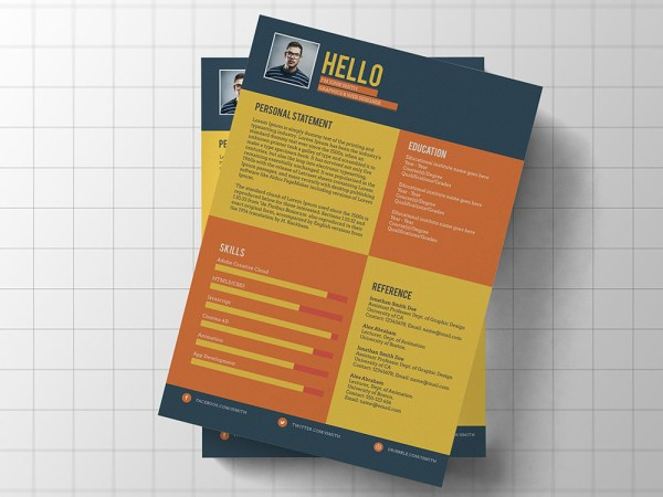 Free Flat Colorful Resume Template for Job Seeker