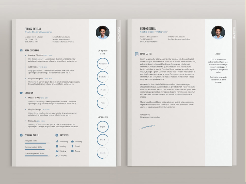 Free Four Pages Resume Template with Minimal Design