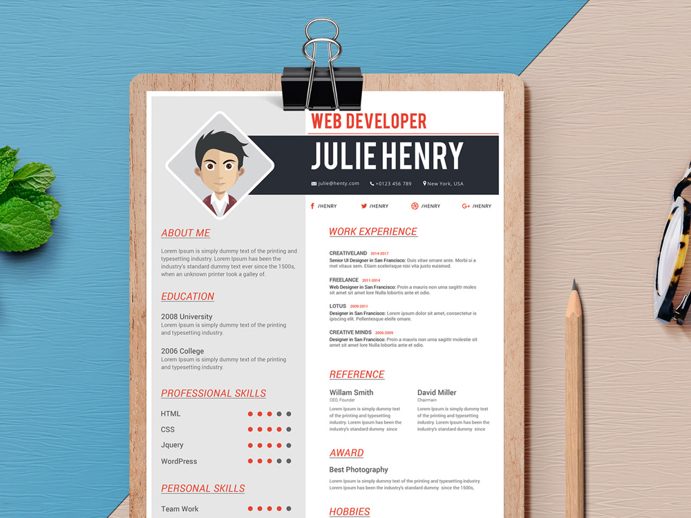 Free Fresh Resume Template with Professional Design