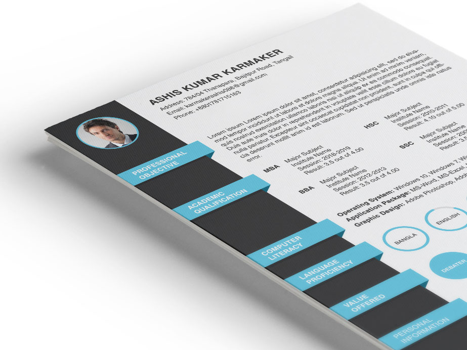 Karmaker Resume - Free PSD Resume Template with Formal Design