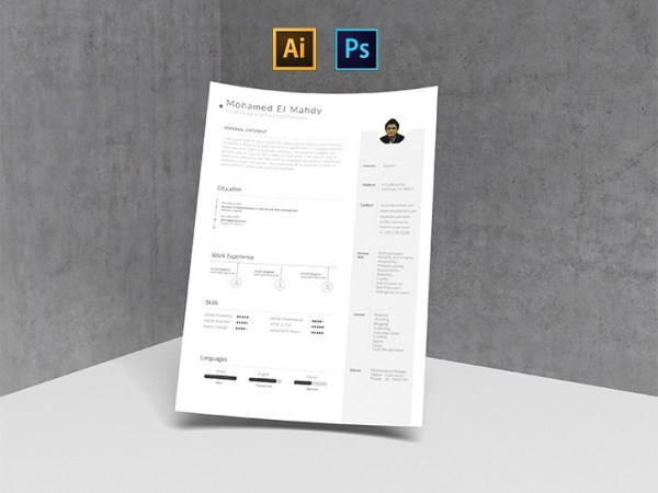 Free Clean and Simple Resume Template (AI & PSD)
