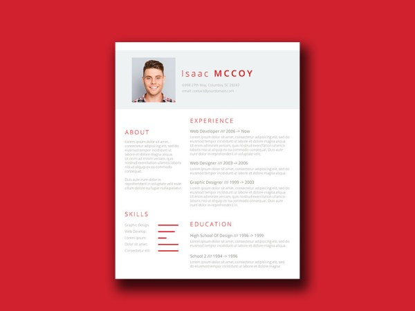 Free Red Themed Resume Template