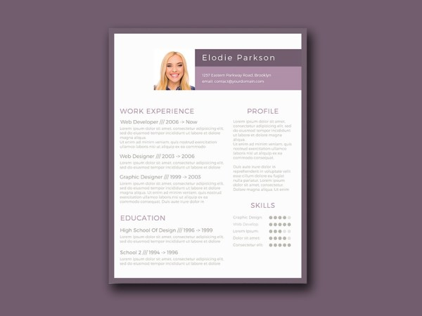 Free Minimalist Resume Template with Purple Style Color