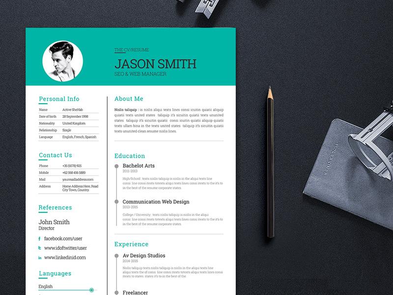 Free Modern and Clean CV Template for Job Seeker