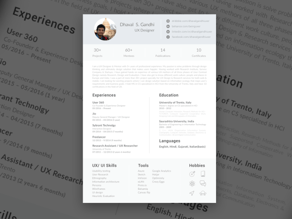 Free One Page Sketch Resume Template with Clean Design