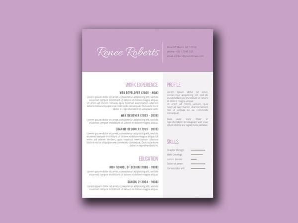Free Feminine Resume Template with Elegant Design