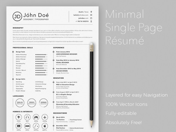 Free Simple Sketch Resume Template for Best Impression
