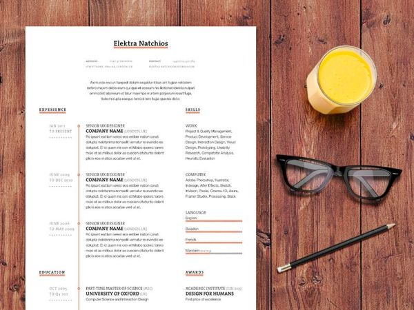Free Simple Timeline Resume in Indesign Format