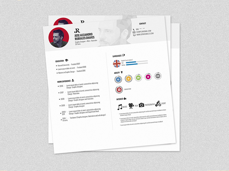 Free Square Resume Template in PSD File Format