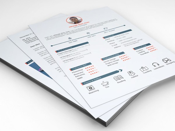 Free Three Pages Timeline Resume with Cover Letter and Portfolio
