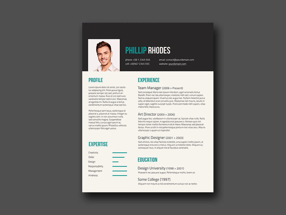 Free Resume Template with Turquoise Color Combination